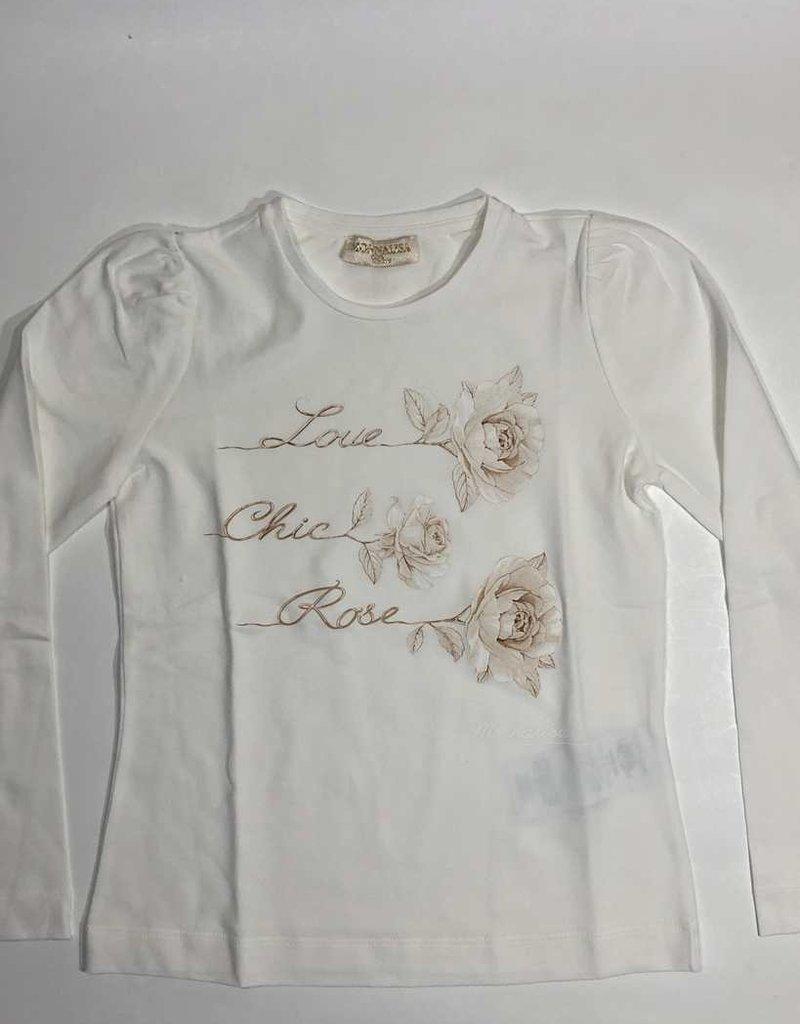 Monnalisa T-shirt ecru lm roos