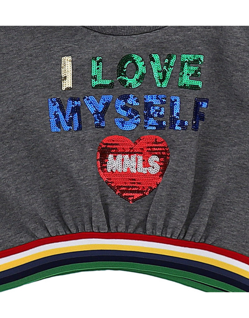 Monnalisa 1 T-shirt grijs love myself