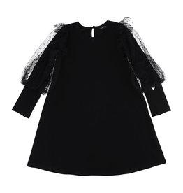 Monnalisa jurk zwart lange mouw tule
