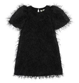 Monnalisa jurk zwart pluimen pofmouw