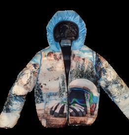 Hyros jas omkeerbaar blauw en skibril