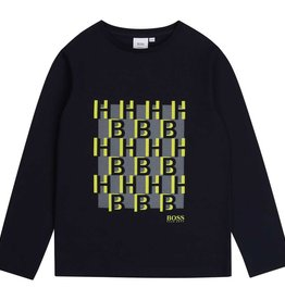 Boss t-shirt donker blauw fluo geel