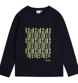 Hugo Boss t-shirt donker blauw fluo geel