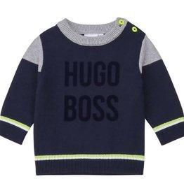 Boss trui donker blauw grijs lime