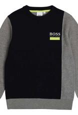 Boss gebreide trui donker blauw grijs