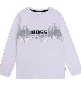 Boss t-shirt wit logo blauw