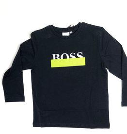 Boss t-shirt donker blauw logo wit lime