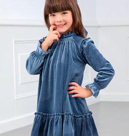Abel&Lula jurk blauw lm strook