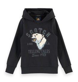 Scotch&Soda  zwarte sweater met kap ijsbeer print