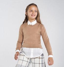 Mayoral trui zand met fake blouse