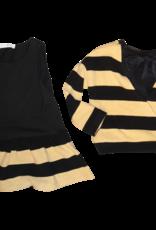 Elsy jurk streep 2-delig zand zwart