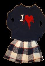 Elsy geruite rok ecru blauw rood