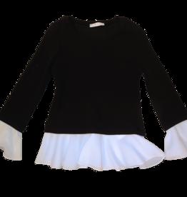Elsy zwarte trui met ecru afwerking