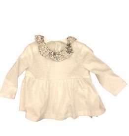 Il Gufo blouse ecru kraagje dessin