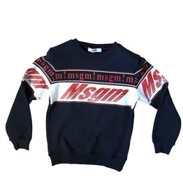 MSGM sweater donkerblauw rood en wit