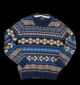 Hackett trui gebreid strepen blauw geel