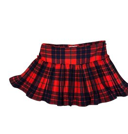 Il Gufo rok ruit rood blauw fijne plisse
