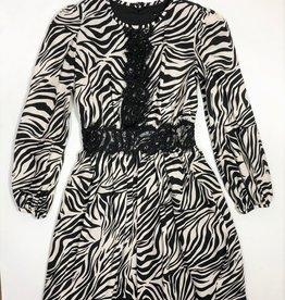 Monnalisa jurk ecru zwart