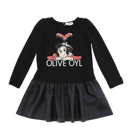 Monnalisa jurk zwart verl. taille olijfje