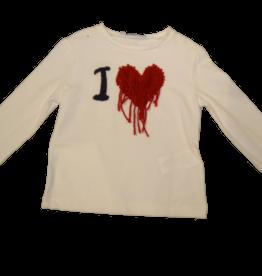 Elsy t-shirt ecru hartje rood