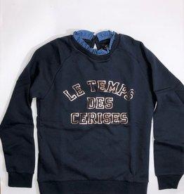 Le temps des cerises sweater donker blauw los kraagje