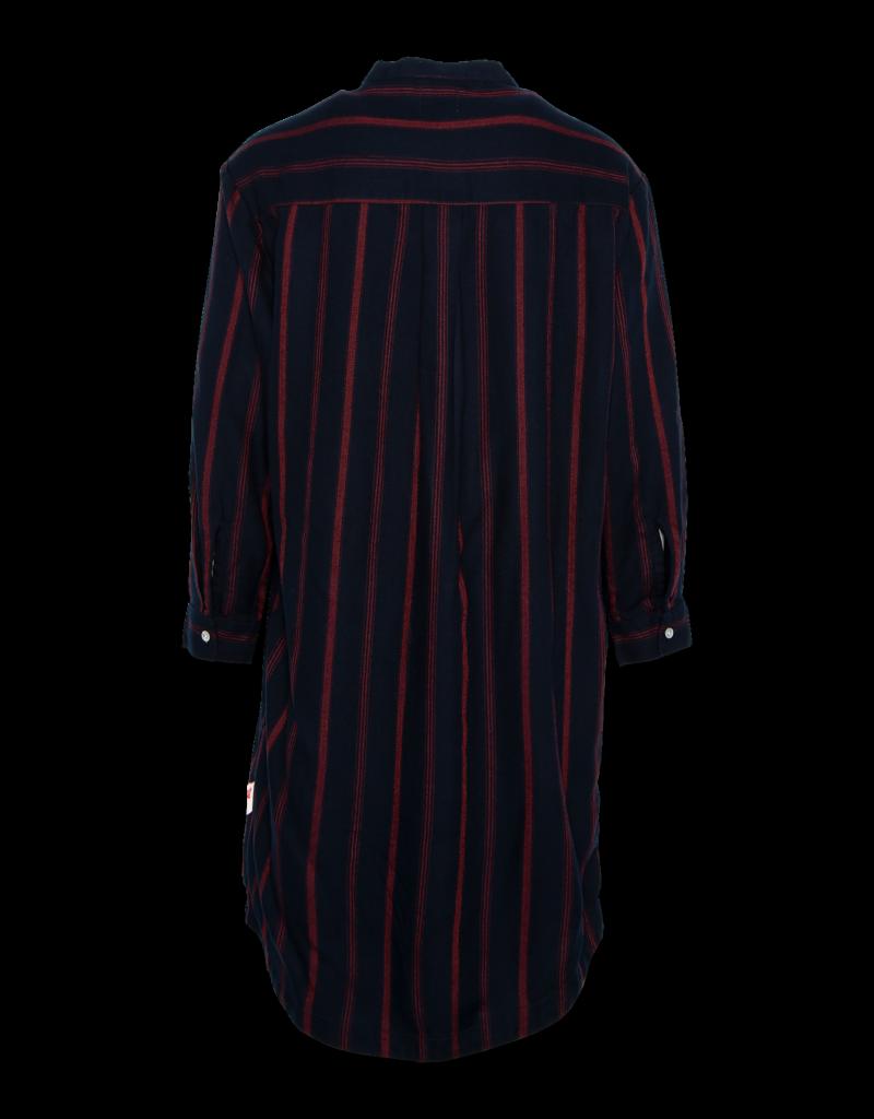 Ao76 jurk streep blauwrood