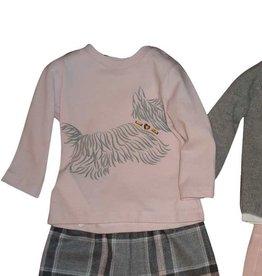 Il Gufo t-shirt rose hond grijs