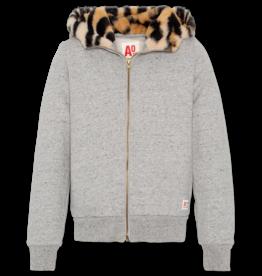 Ao76 gilet grijs kap met leopard
