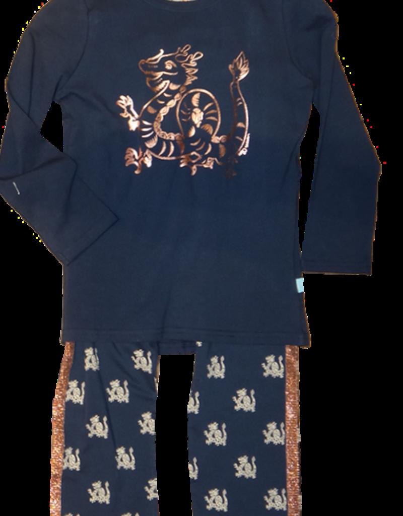 Charlie Choe pyjama uni blauw en print broek