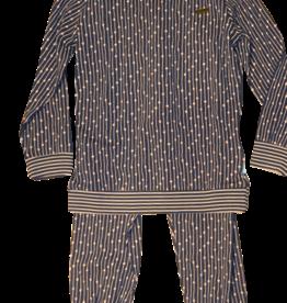 Charlie Choe pyjama blauw met streep zalm