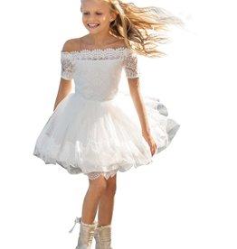 Linea Raffaelli jurk ecru km en boothals