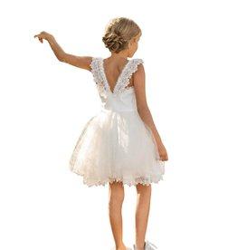 Linea Raffaelli ecru jurk met kanten V rug