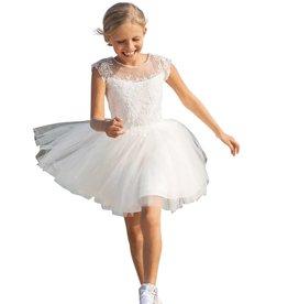 Linea Raffaelli ecru jurk borduur boven tule rok
