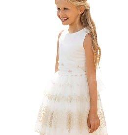 Linea Raffaelli jurk ecru zand rok en rijgrug
