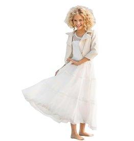 Linea Raffaelli lange ecru jurk tule bovenaan