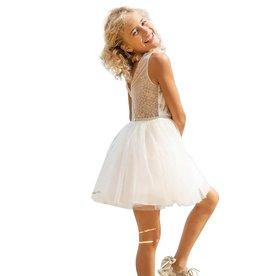 Linea Raffaelli jurk ecru met top ecru zand borduur
