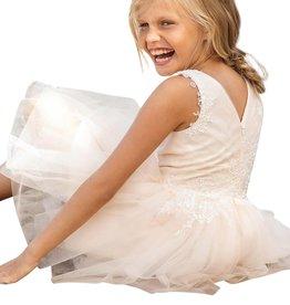 Linea Raffaelli zalm jurk met ecru borduur