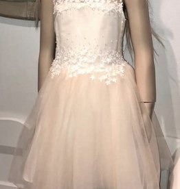 Linea Raffaelli zalm jurk met ecru sterretjes boven