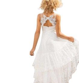 Linea Raffaelli lange ecru jurk met kant sluiting