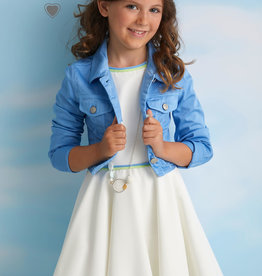 Diamante Blu jurk zm wijde rok ecru