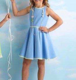 Diamante Blu jurk zm wijde rok midden blauw
