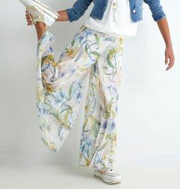 Diamante Blu lange wijde broek blauwdesssin met plisses