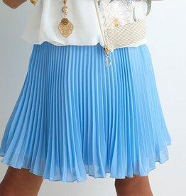 Diamante Blu gevoerde plisse rok in middenblauw
