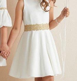 Diamante Blu mouwlose ecru kleurige jurk wijde rok goudband in taille