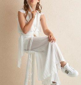 Diamante Blu jumpsuit plisse broek kapmouw ecru