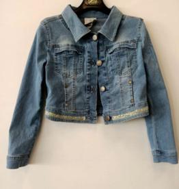 RTB jeansjasje met kraag band versierd