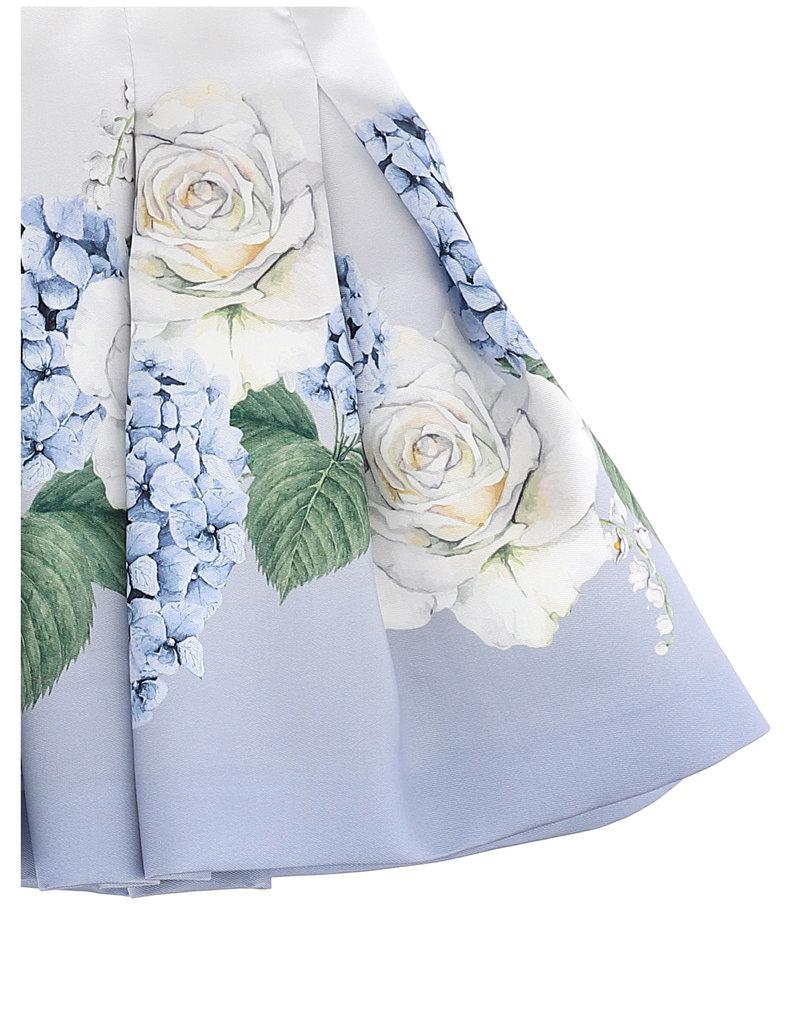 Monnalisa rok ecru blauw met rozen en blaadjes