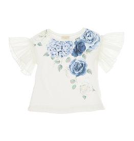 Monnalisa T-shirt ecru blauwe rozen mouw tule