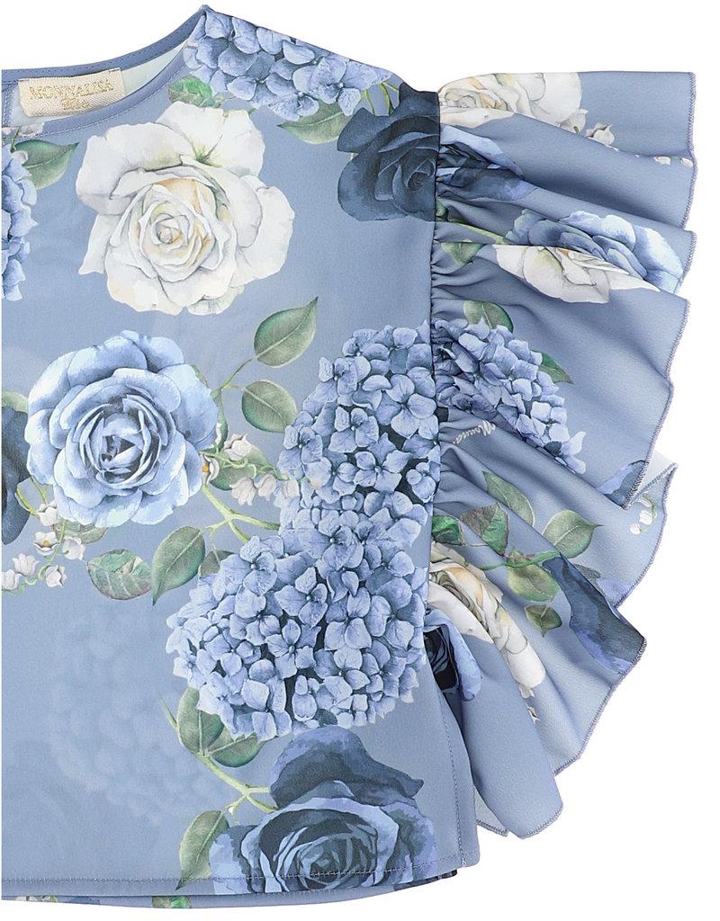 Monnalisa Top ecru met blauwe rozen en bloemen