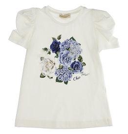 Monnalisa T-shirt ecru chic blauwe rozen